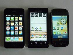 Group of smartphones