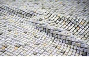 A Korean Artist made a carpet on the form of keyboard with 22528 Buttons